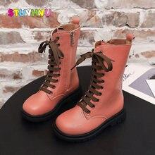 Осень 2020 новые модные детские ботинки кожаная обувь для девочек