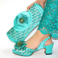 Hot sale water blue women pumps with rhinestone decoration african dress shoes match handbag set CR2101,heel 6.8CM