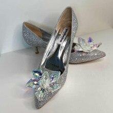 Crystal Shoes High-Heels Silver Pointed Female Sexy Cinderella Rhinestone New