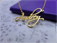 Gold Color Cursive Font Custom Handwriting Necklace Personalized Stainless Steel Filled Signature Necklaces Nameplate
