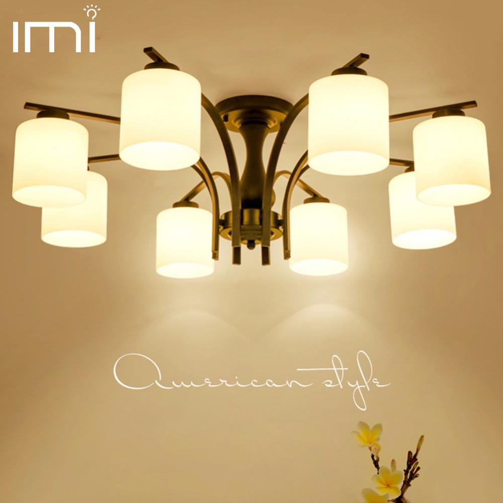IMINOVO LED ceiling master bedroom lights American study restaurant living room lights Nordic pastoral simple lamps and lanterns