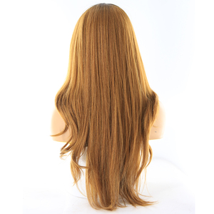 Image 2 - Ombre Blonde Pink Color Lace Part Synthetic Hair Wigs With Bangs Middle/Side Part X TRESS Long Straight Lace Wig For Black Women