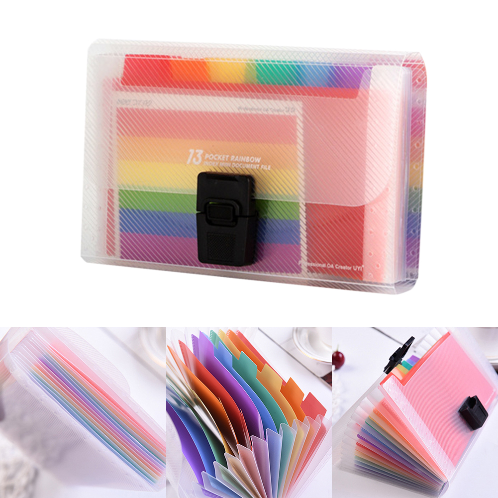 Expandable Receipt Storage File Folder Organizer Document PP Portable A6 Accordion Buckle Office 13 Pockets Rainbow Innner