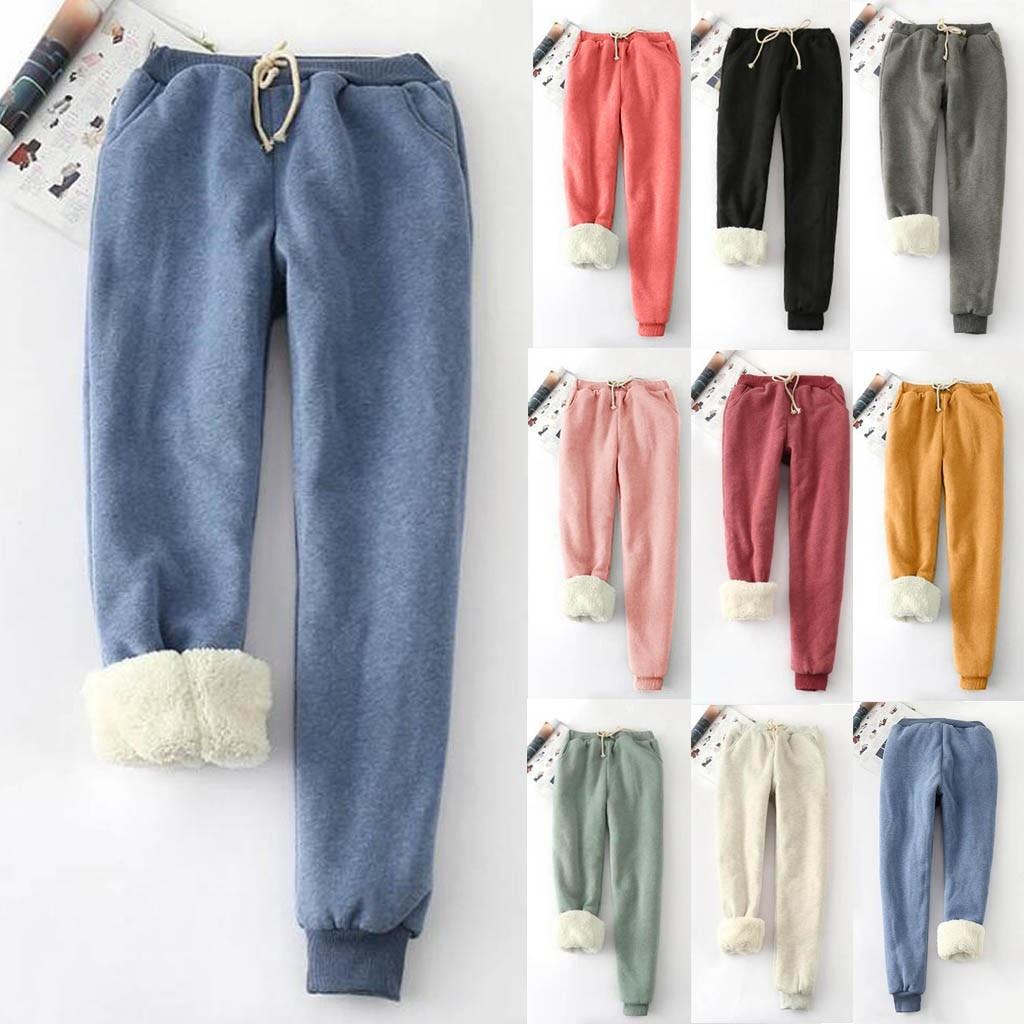 2019 Winter New Style Lightweight Winter Solid Color Fleece Large Size Harem Pants Casual Harun Leggings Lamb Hair Warm Pants