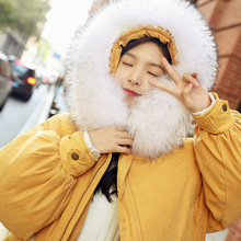 Cotton clothing female 2019 winter new hooded collar long section thick ins ladies cotton oversize bread tide