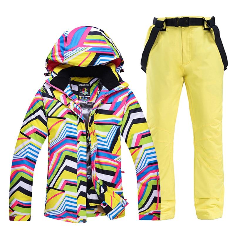 Более дешевая Женская одежда для снежной погоды, лыжный костюм с принтом зебры, комплекты для сноуборда, ветрозащитный водонепроницаемый с...