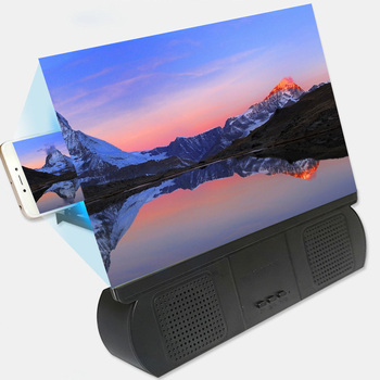 12Inch 3D Screen Mobile Phone Screen Magnifier with Bluetooth Speaker HD Video Amplifier Folding Enlarged Expander Stand