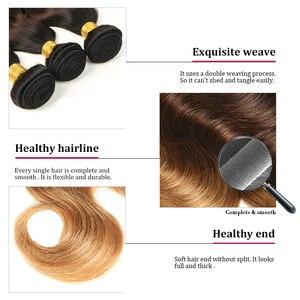 Image 5 - Alimice 3 Tone Ombre Bundels Met Sluiting Indiase Lichaam Wave Haar Weave Bundels Met Sluiting T1b/4/27 Remy Human hair Extensions