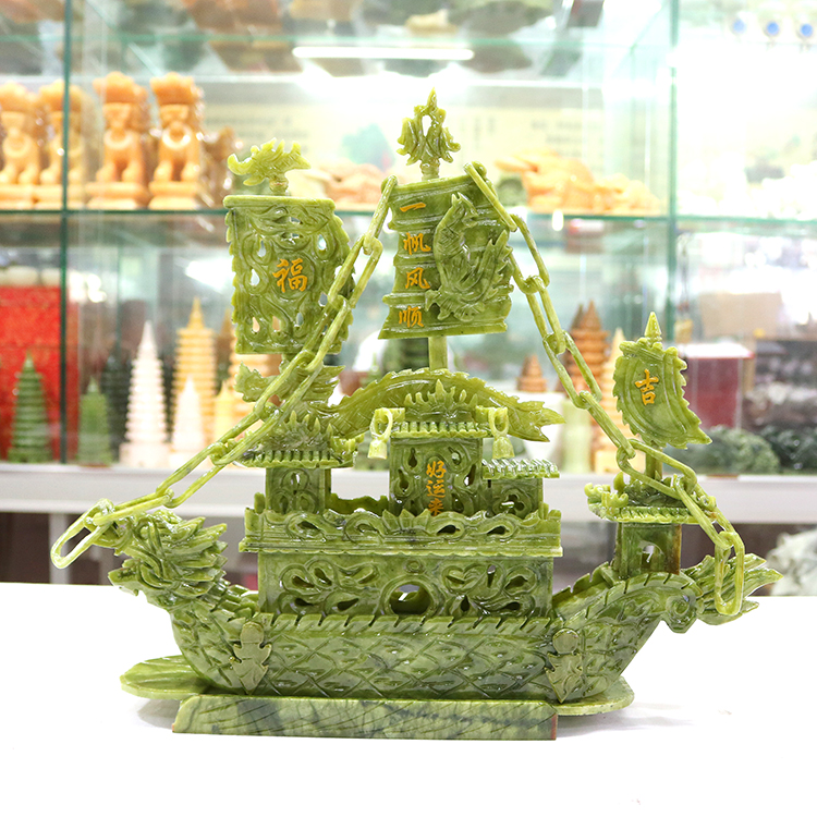 Jade 38cm Luxury Sails Smooth Dragon Boat Ornaments Jade Carving Collection Crafts Gifts Living Room TV