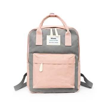 2020 New Fashion lady Student Canvas shoulder bag schoolbag bag Tour backpack bookbag  backpack women  small pink cute kawaii - Gray Pink
