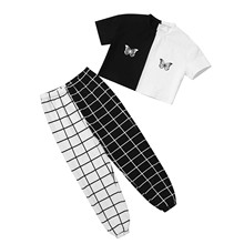 Kids Girls Summer Outfit Streetwear Short Sleeve Round Neck Butterfly Print Crop Top with Grid Trousers Set Children Casual Wear