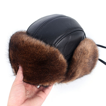 Bomber Hat Men New 2020 Winter Warm Russian Ushanka Hat with Ear Flap Pu Leather Trapper Cap Faux Fox Fur Earflap Snow Hats