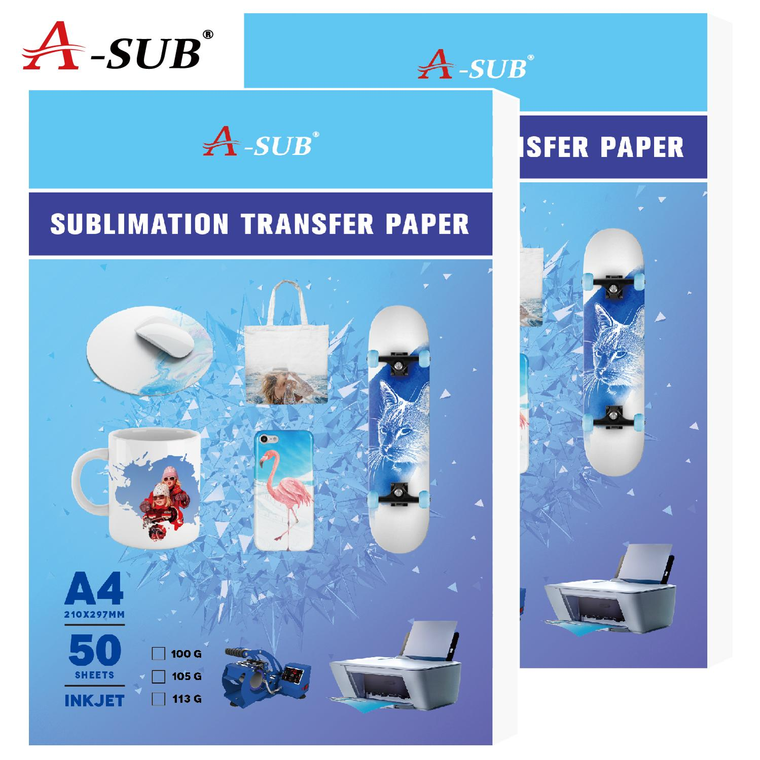 113g A4 50sheets Sublimation Heat Transfer Paper For For Any Inkjet Printer With Sublimation Ink