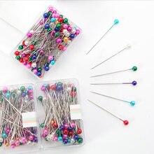 100 pçs/lote ferramenta de costura agulha ponto redondo pinos diy casamento corsage colorido costura pérola cabeça dressmaking pinos floristas