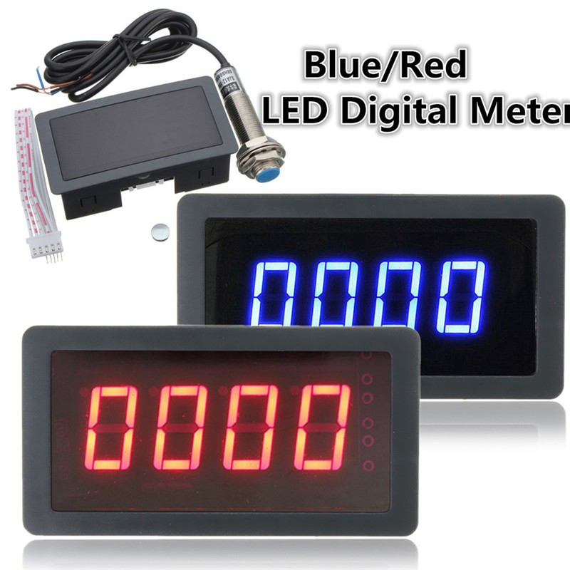 4 Digital LED Blue Green Tachometer Gauge RPM Speed Meter Add Hall Proximity Switch Sensor NPN 12V Dropshipping Car Accessories