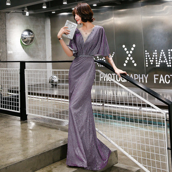 Elegant Evening Dress Purple Mermaid Long Women Party Dresses O-Neck Half Sleeve Formal Gowns Shawl Shining Robe De Soiree K199 2