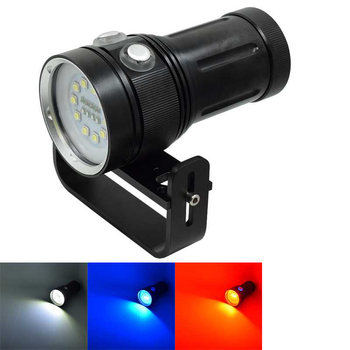 WasaFire 10 X L2 LED Diving Flashlight 18650 Dive Torch White + 4 X Red + 4 X UV/Blue Light Underwater Waterproof Torchlight