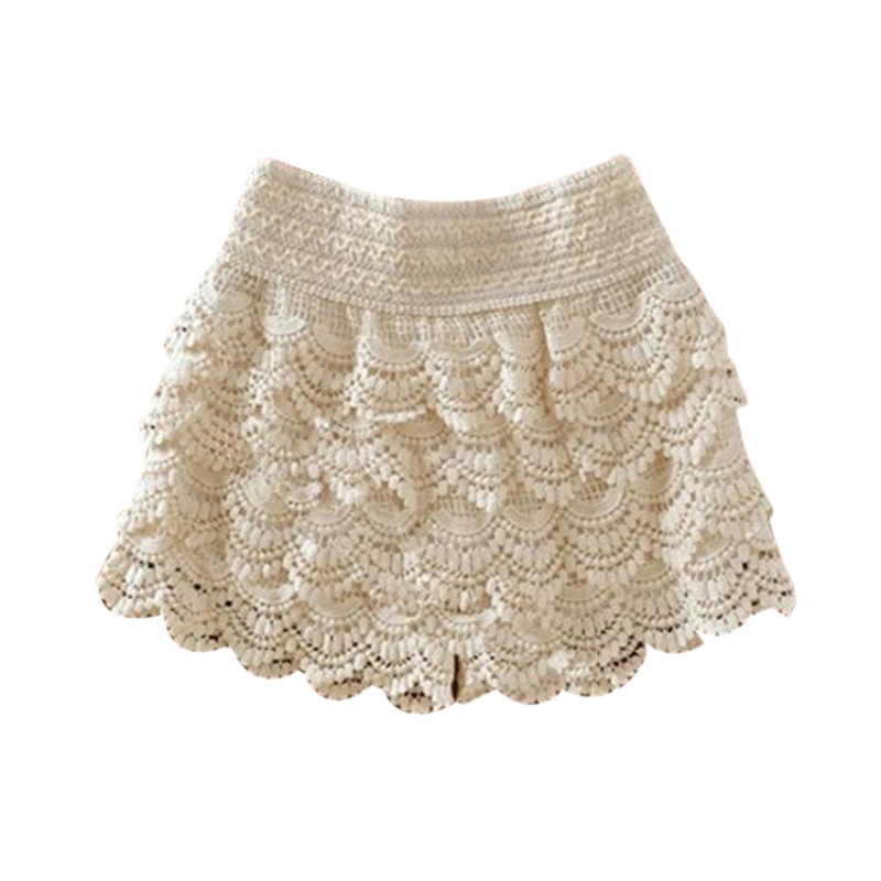 Summer 2019 Fashion Womens Shorts Lace Crochet Elastic Waist Slim Short Pants