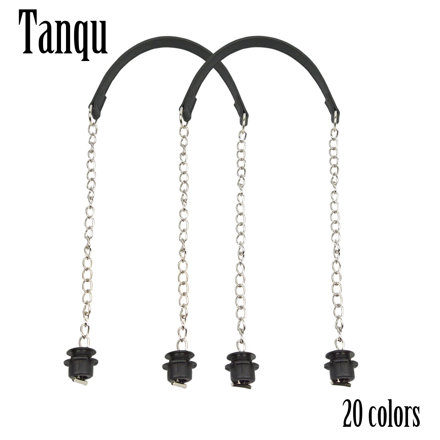 New Tanqu 1 Pair Silver Long Thick Single Chain with OT metal buckle Black screws for Obag O bag Handles for Women Bag Handbags in Bag Parts Accessories from Luggage Bags