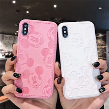 Funda de cuero de dibujos animados Minnie Mouse para iPhone 11 Pro X Xs Max XR 8 7 6 6S Plus cubierta de cuero suave con pintura en relieve en 3D(China)
