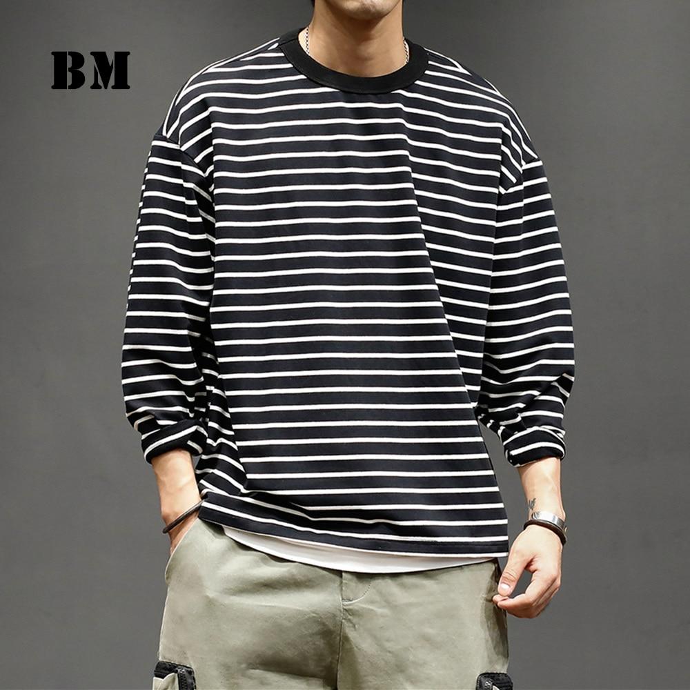 2021 Spring Harajuku Casual Striped Sweatshirt Streetwear Long Sleeve Japanese Fashion T-Shirt Funko Pop Top Hip Hop Pullover