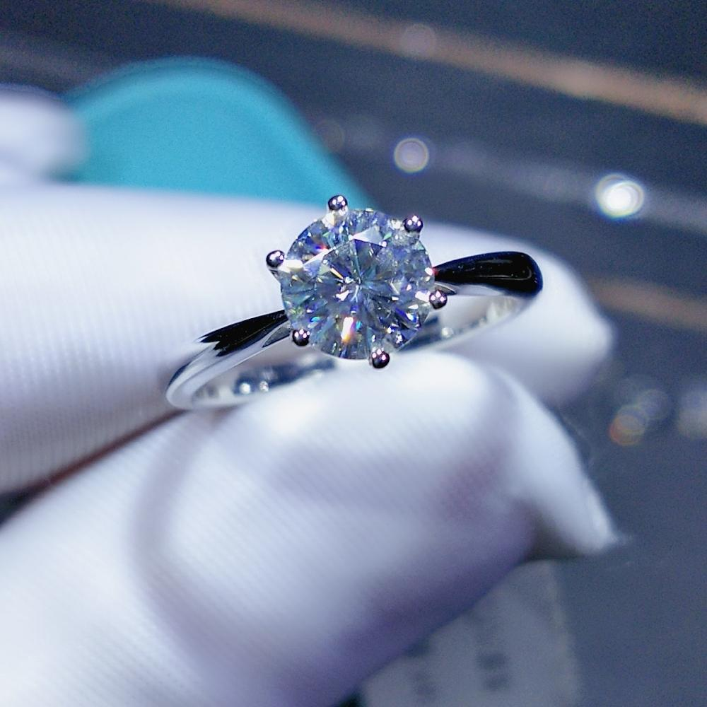 Geoki New Popular 1 ct Passed Diamond Test Moissanite Ring 925 Sterling Silver Perfect Cut Excellent D Color Gem Engagement RingRings   -