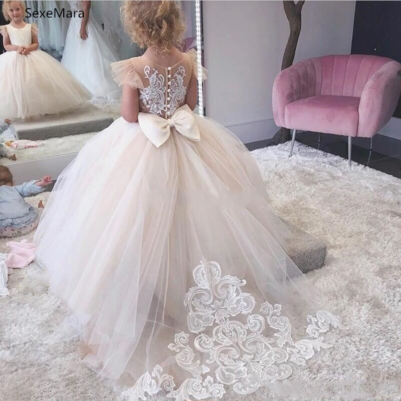 Champagne Lace And Tulle Flower Girl Dresses For Wedding Ball Gown Princess Girls Pageant Gowns Children Communion Dress Custom Made Size