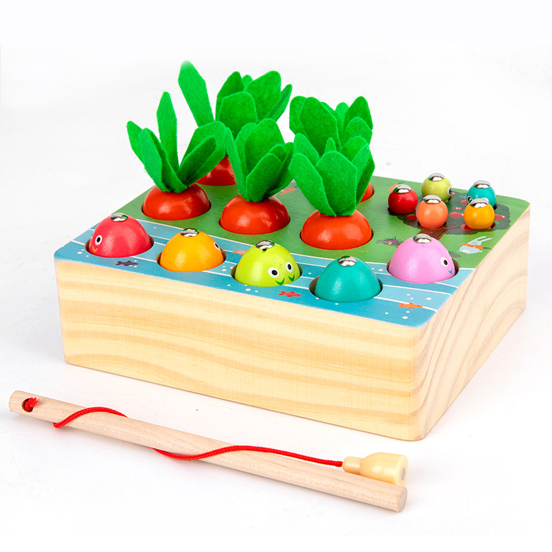 Montessori Puzzle Toys 3D Cognitive Strawberry Grasping Ability Wooden Toy Early Educational Puzzle Catch Worm Game Baby Toys 18