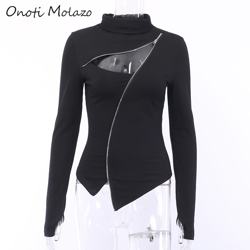 Onoti Molazo Gothic Zipper Turtleneck Tops Women Autumn Black Hollow Out Long Sleeve Winter Aesthetic Streetwear Top Female 2019 in T Shirts from Women 39 s Clothing