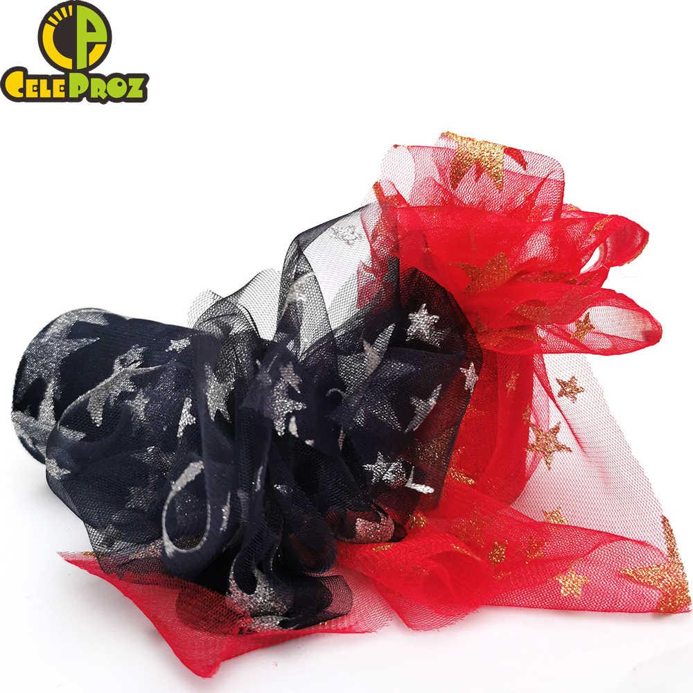 10 หลา 8/10/12 cm Glitter Star Tulle Confetti Glitter ตาข่าย Tulle Roll Tutu Pom DIY งานแต่งงานวันเกิดเบเกอรี่ Giftbox ตกแต่ง