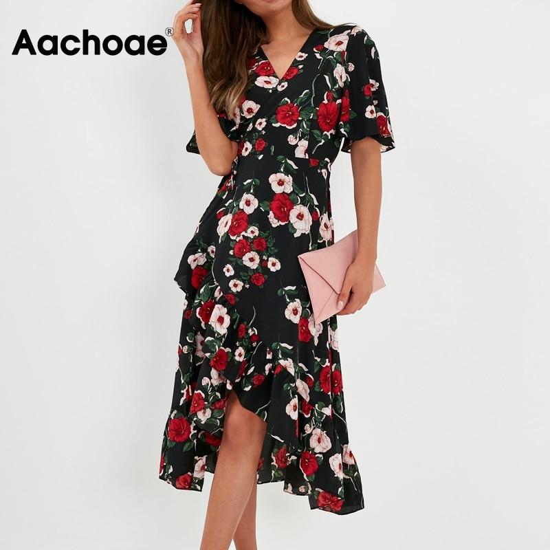 Aachoae Women Elegant Floral Print Long Dress V Neck Split Wrap Party Dress Female Short Sleeve Ruffle Bandage Boho Dresses 2020