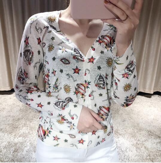 Women Sweater New Spring / Summer 2020 Floral Print Round Neck Short Sleeve+V-neck Cardigan Sweater Top