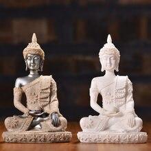 Natureza arenito índia buda estátua tailândia fengshui sentado buda escultura ornamento meditação estatueta miniatura decoração