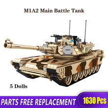 Technic Military Model WW2 The M1A2 Main Battle Tank Building Blocks Toys Bricks With Figure Children Birthday Gifts xingbao technic new military series 06033 the uk challenger2 main battle tank model blocks bricks toys figure christmas gifts