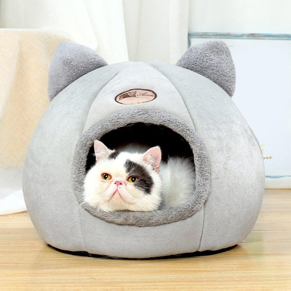 Cute Pet Bed Cat House Foldable Kennel Winter Warm Nest Soft Comfortable Puppy Cave Kitten Basket Sleeping Mat