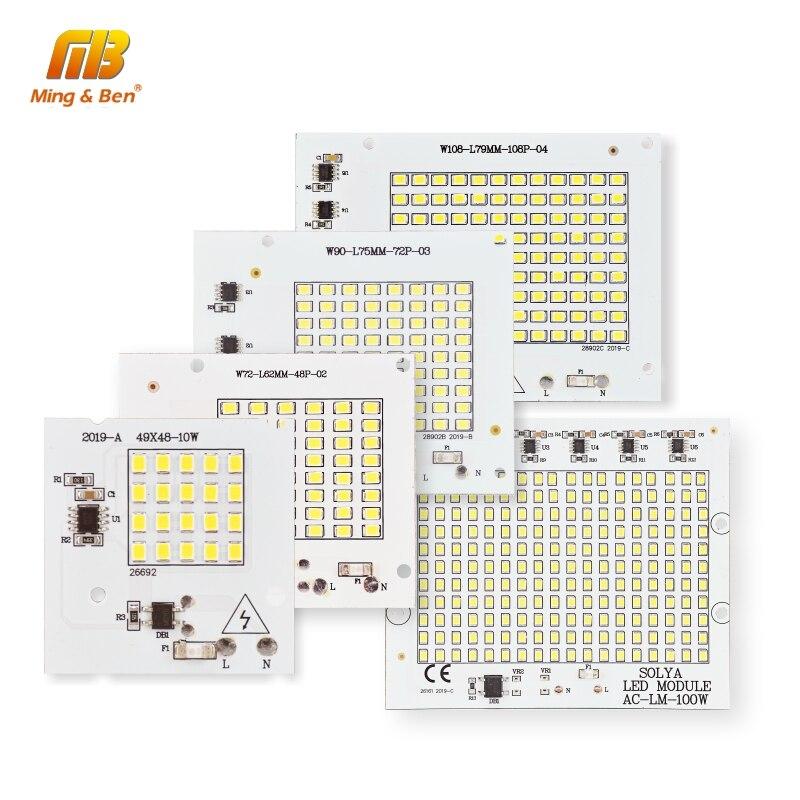 Chip de lámpara LED SMD2835 cuentas IC inteligente 220V entrada 10W 20W 30W 50W 100W DIY para proyector al aire libre blanco frío cálido