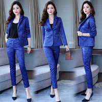 Famous Yuan Hong Kong style new women's wear professional suit printed small suit trousers show thin two piece fashion