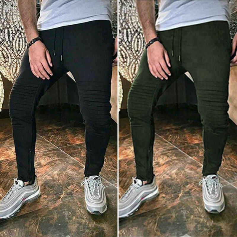 2019 Newest Hot Running Pants Men's Slim Fit Tracksuit Sport Gym Skinny Solid Sweat Pants Trousers Autumn Zipper With Pocket
