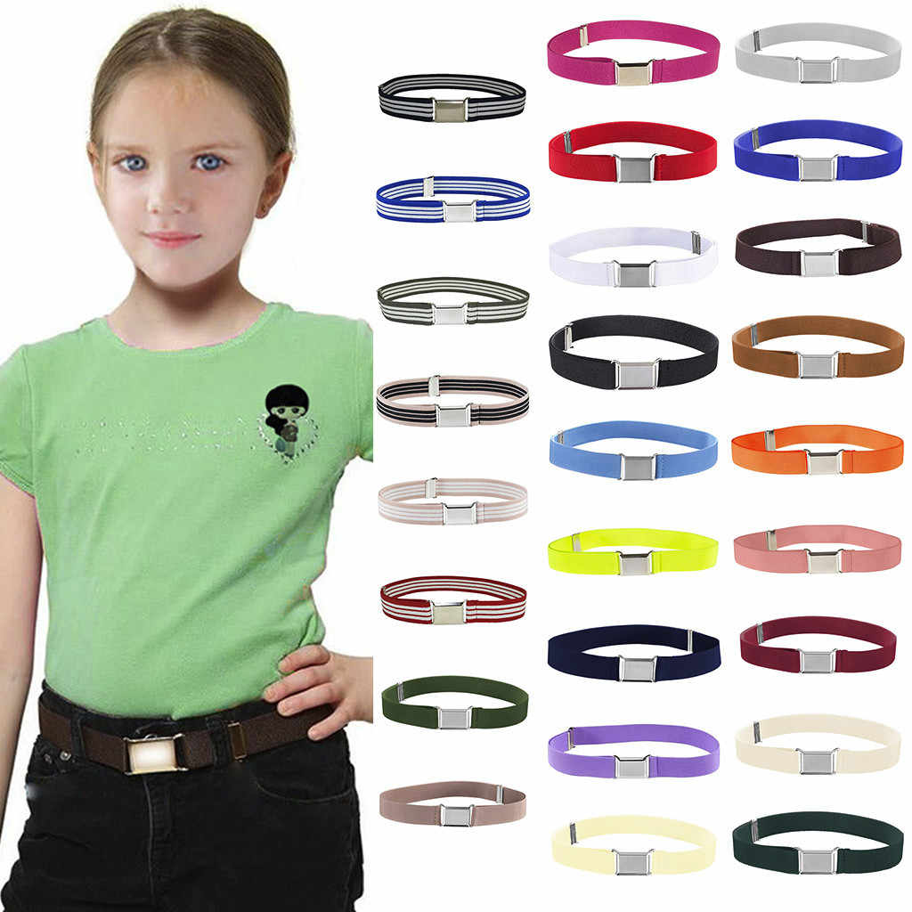 SAGACE çocuklar yürümeye başlayan kemer elastik ayarlanabilir streç Unisex kemerler gümüş kare toka eğlence vahşi pin olmadan metal toka kemer
