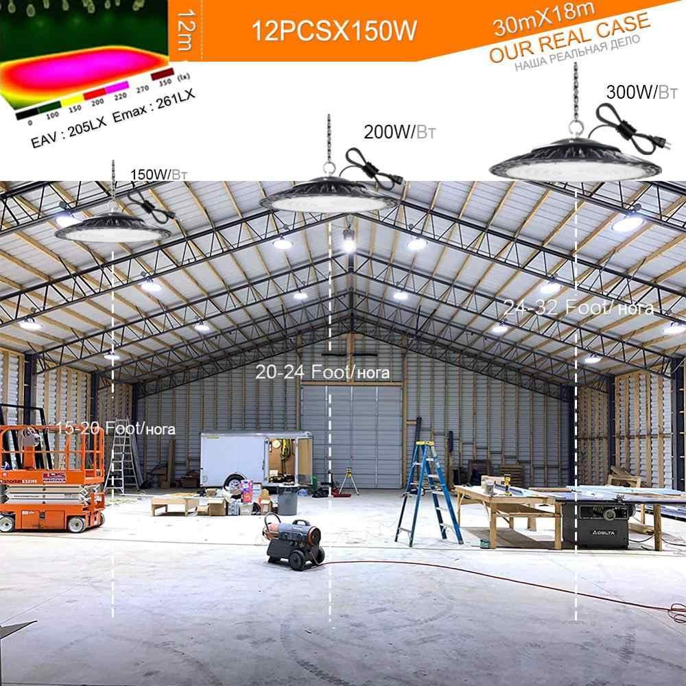 プラグ保証 5 年の led 高湾ライト防水 IP65 ufo 倉庫ワークショップガレージ工業用ランプスタジアム市場空港