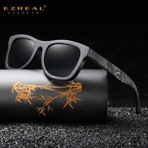 Image 1 - EZREAL gafas de sol polarizadas de madera para hombre y mujer, anteojos de sol de marca de lujo, de diseñador, estilo Vintage, con caja redonda