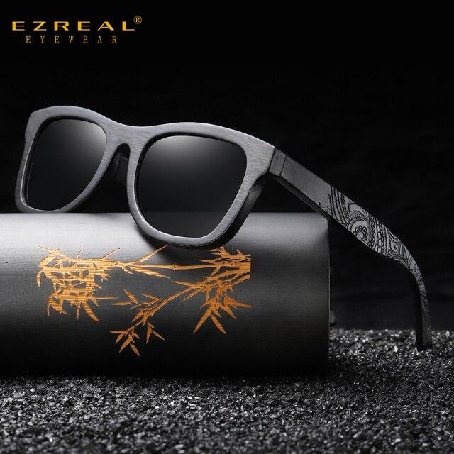 EZREAL gafas de sol polarizadas de madera para hombre y mujer, anteojos de sol de marca de lujo, de diseñador, estilo Vintage, con caja redonda