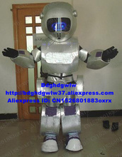 실버 로봇 Automaton 마스코트 의상 성인 만화 캐릭터 복장 비즈니스 시작 행사 Circularize 플라이어 zx1068