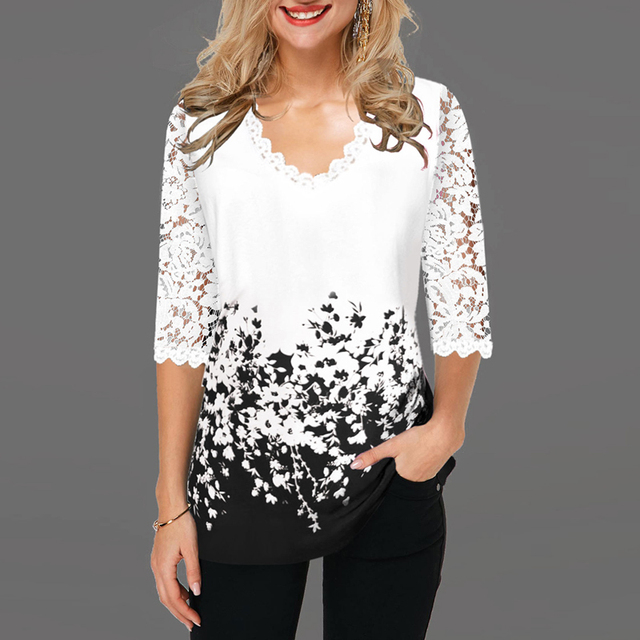 Women Blouse Plus Size Boho Shirt 2020 Autumn Butterfly Print Lace Splice Shirts Ladies V-neck Casual Shirt Pullovers Femme Tops 5