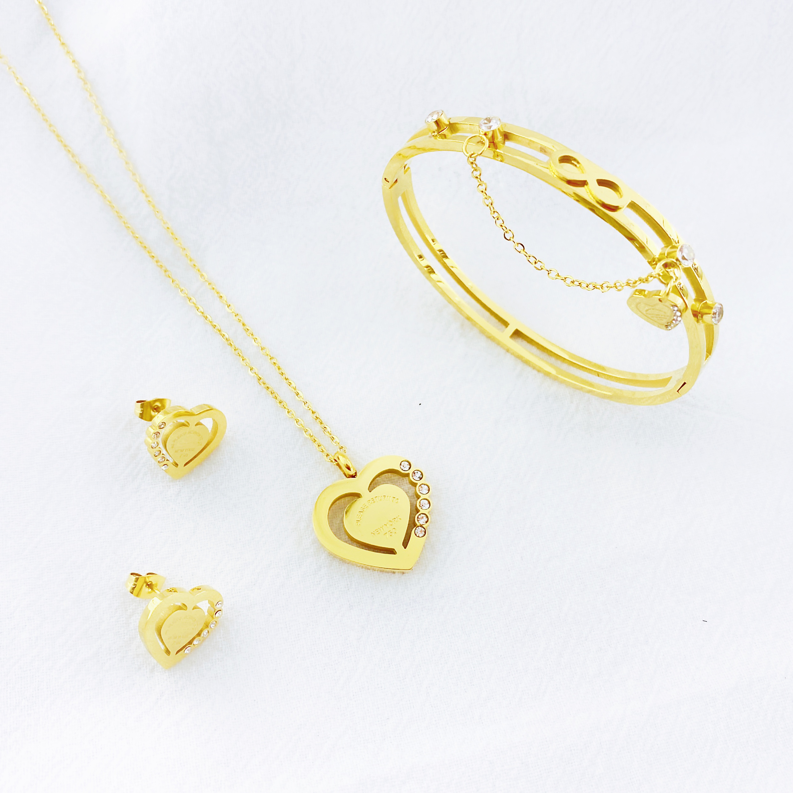 Euramerican fire enthusiastic type 8 word infinite love necklace earring bracelet 3sets for women party gifts Wholesale