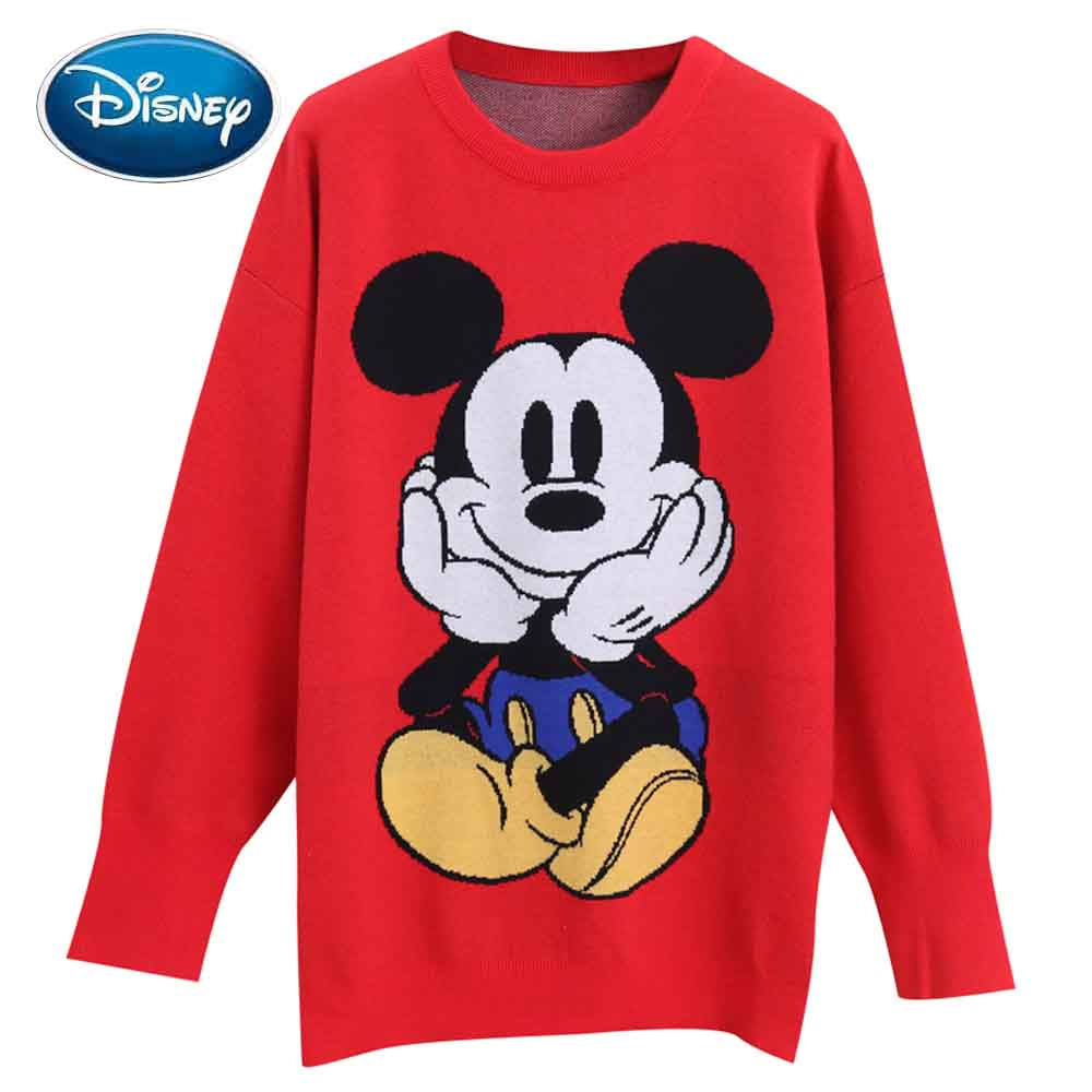 Disney Stylish Mickey Mouse Cartoon Print O-Neck Pullover Streetwear Cute Women Sweater Knitted Long Sleeve Loose Tops 2 Colors