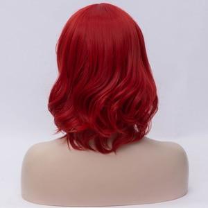Image 2 - Msiwig perruque de Cosplay synthétique courte ondulée avec frange sur le côté, perruque violette bleue rose verte pour femmes