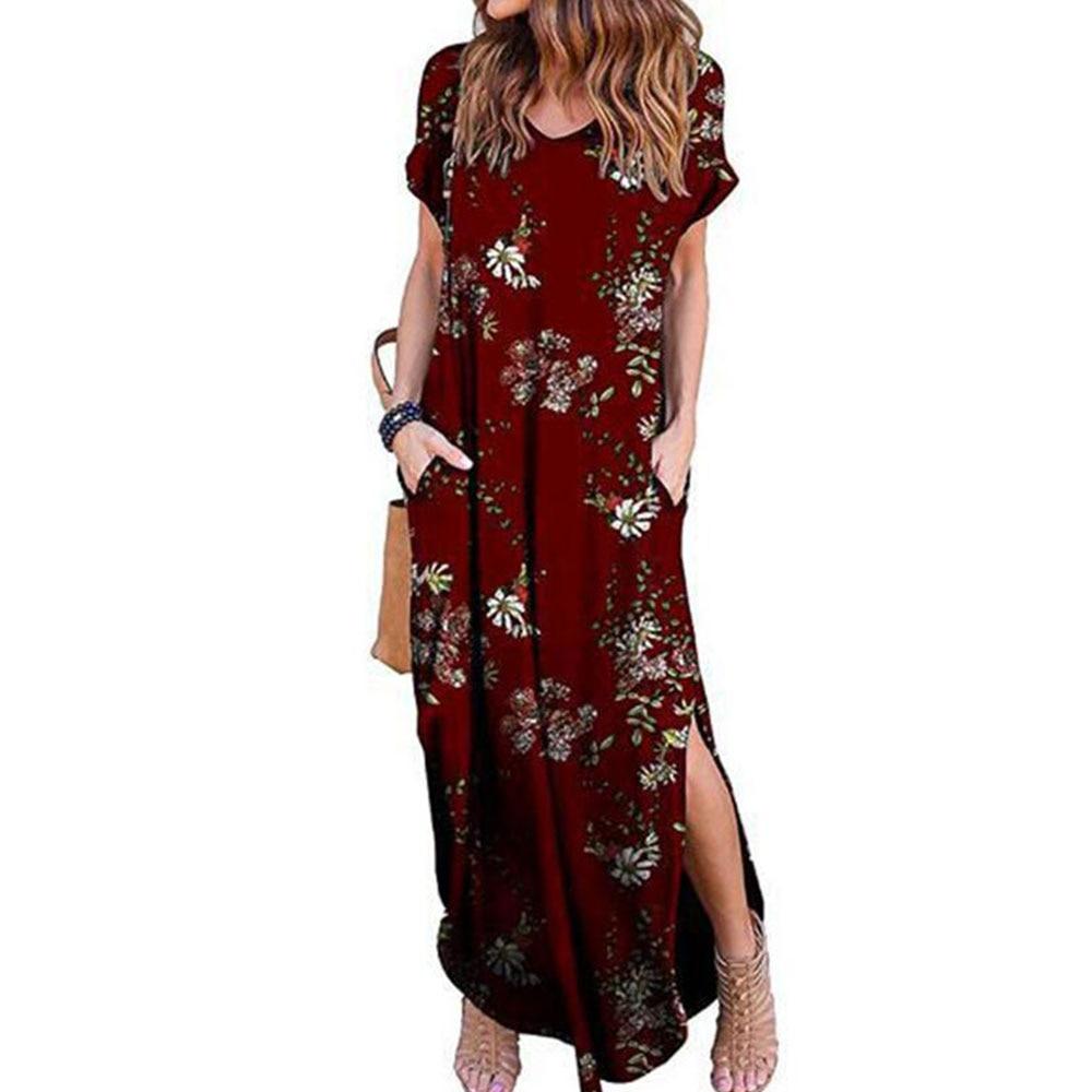 GRECERELLE Women's Casual Loose Pocket Long Dress Short Sleeve Split Maxi Dresses 5