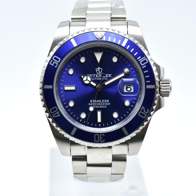 He992361c30734f549e854b14d375cb1fU Ceramic bezel luminous mechanical automatic men watches top brand luxury PETER LEE daydate stainless steel men hand wind watch