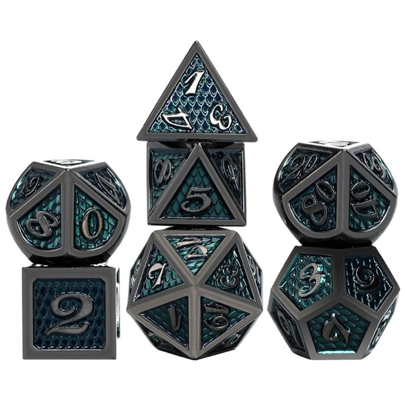 7 pçs/pçs/set conjunto de dados de metal rpg mtg dnd metal poliédral dice role playing jogos